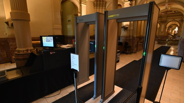 Colorado State Capitol security entrance on ...