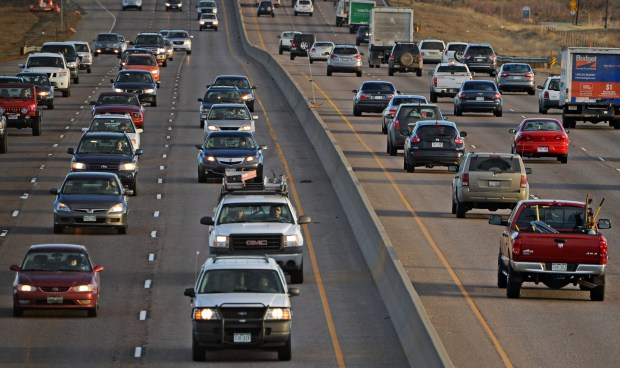Traffic moves along on Interstate 25 near 126th Avenue during the morning rush hour on March 20, 2014.
