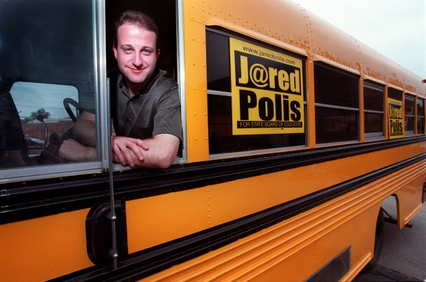 Jared Polis, at 25, on the campaign trail as he ran for the State Board of Education.